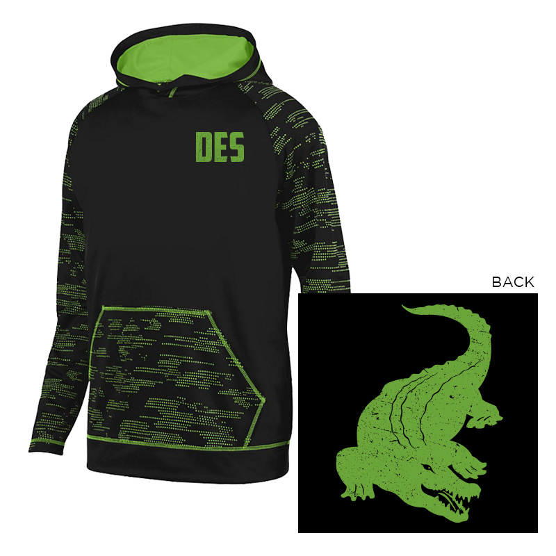 DES DES / GATOR BACK SLEET HOODIE - BLACK LIME