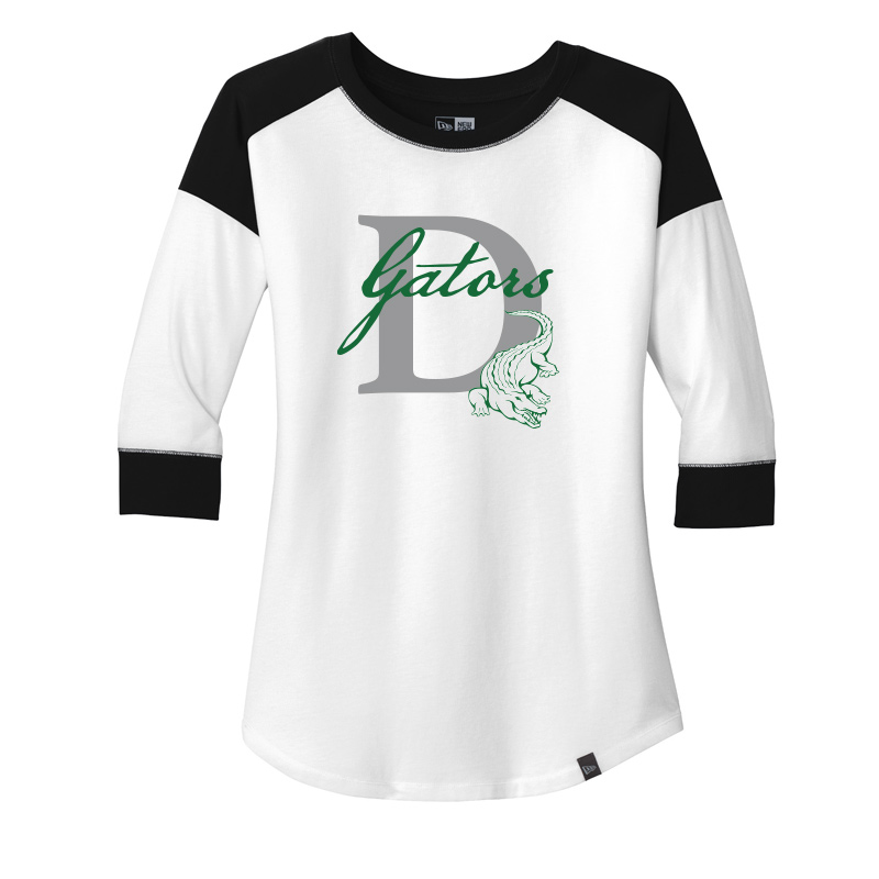 DES GATORS D Ladies Heritage Blend 3/4-Sleeve Baseball Raglan Tee - WHITE/BLACK