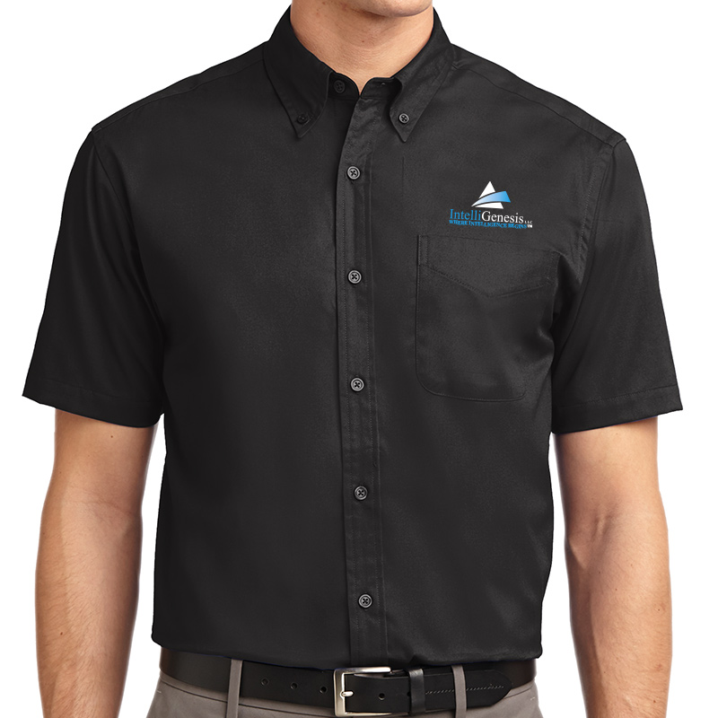 IntelliGenesis Port Authority Short Sleeve Easy Care Shirt - Black