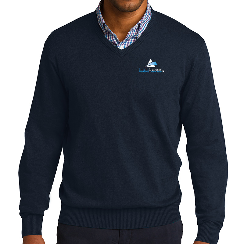 IntelliGenesis Port Authority V Neck Sweater - Navy