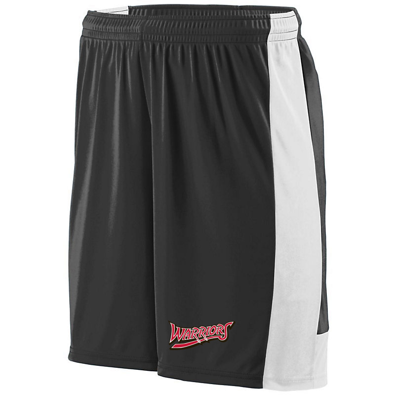 White Marsh Warriors Wicking Lightning Shorts-Black