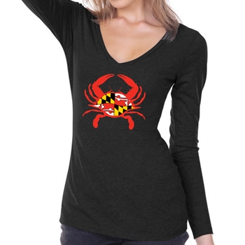 Mother's Large Crab - Long Sleeve V Neck
