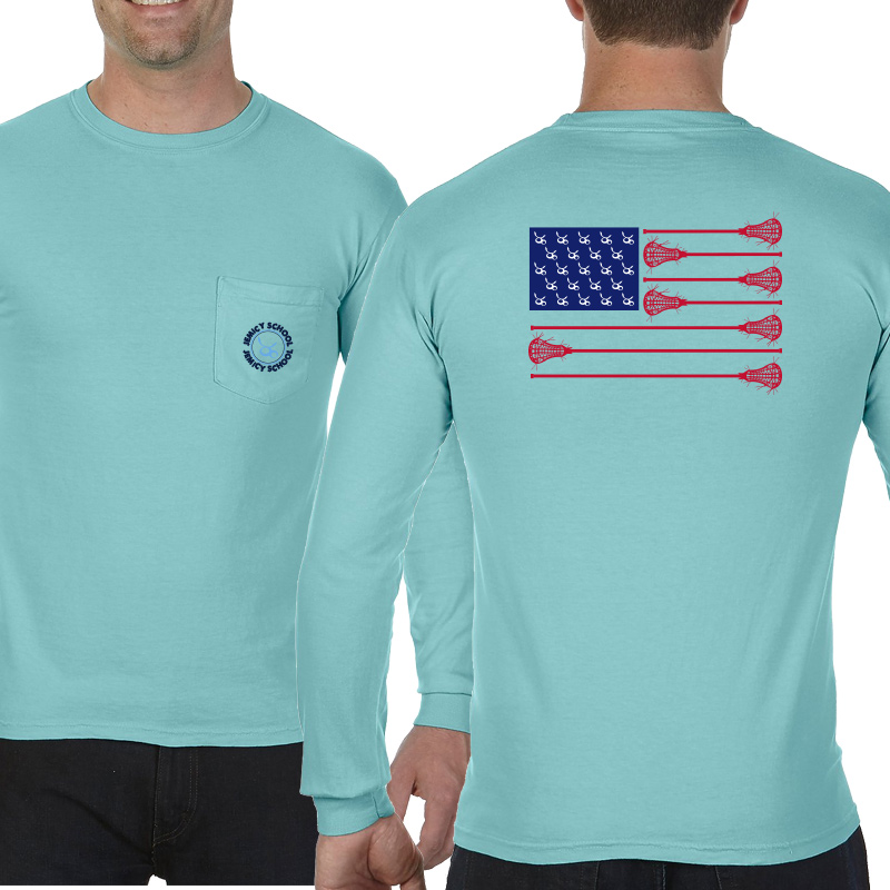 Jemicy LaxFlagAdult  Long Sleeve Pocket T-Shirt - ChalkyMint