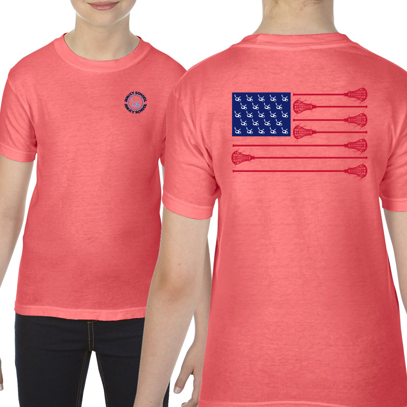 Jemicy LaxFlagYouth  Ringspun Short Sleeve Shirt  - Neon Red Orange