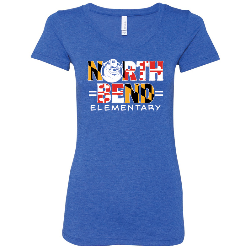 North Bend MD Flag  Triblend Jersey Short Sleeve Tee  : Ladies - Royal