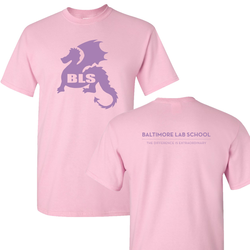 Baltimore Lab School 100% CottonShort Sleeve  T-Shirt-Light Pink