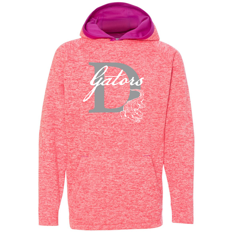 DES GATORS D Youth Cosmic Fleece Hooded Sweatshirt - Fire Coral/ Magenta