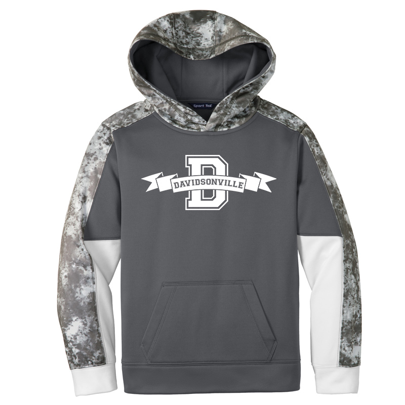 DES Davidsonville Banner  Youth Sport-Wick Mineral Freeze Fleece Colorblock Hooded Pullover-Dk smoke