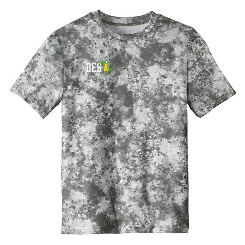 DES DES with Gator on Right Chest Youth Mineral Freeze Tee-Dk Grey Smoke