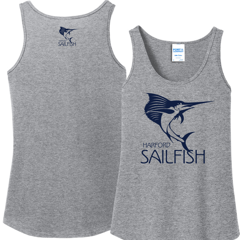Harford Sailfish Ladies Cotton Tank Top - Athletic Heather