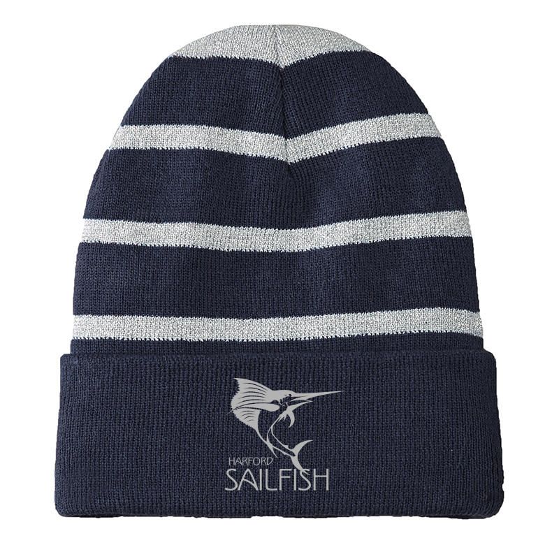 Harford Sailfish Striped Beanie with Solid Band - Navy