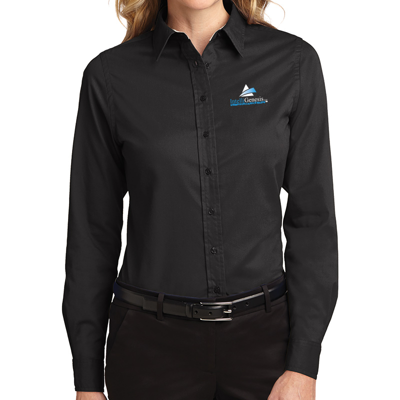 IntelliGenesis Port Authority Ladies Long Sleeve Easy Care Shirt - Black