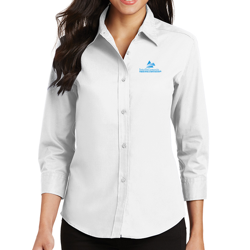 IntelliGenesis Port Authority Ladies ¾ Sleeve Easy Care Shirt - White