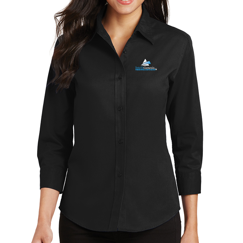 IntelliGenesis Port Authority Ladies ¾ Sleeve Easy Care Shirt - Black