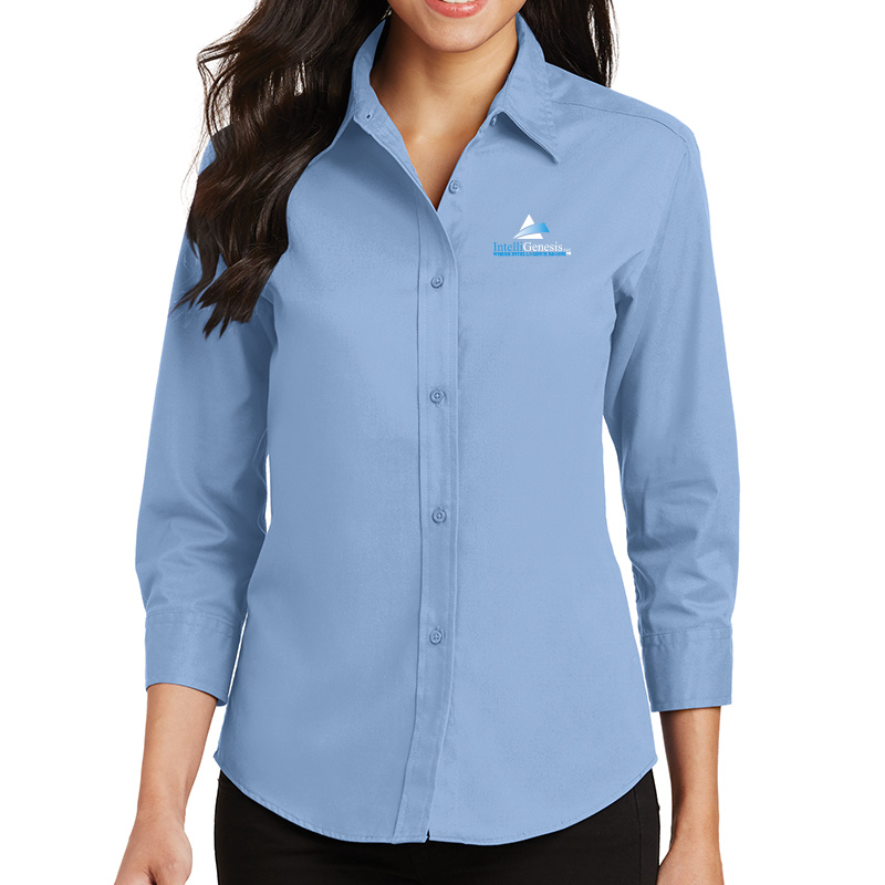 IntelliGenesis Port Authority Ladies ¾ Sleeve Easy Care Shirt - Light Blue