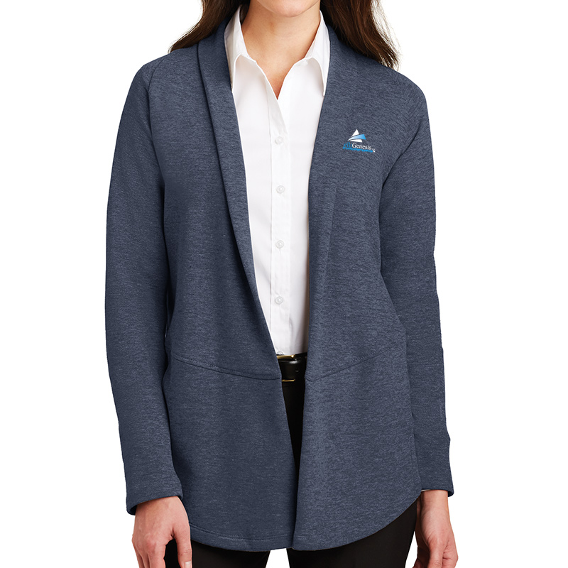 IntelliGenesis Port Authority Ladies Interlock Cardigan  - Navy