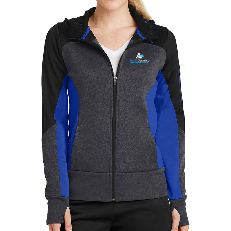 IntelliGenesis Sport Tek Ladies Tech Fleece Colorblock Full Zip hooded Jacket - Black/ Graphite Heather/ True Royal