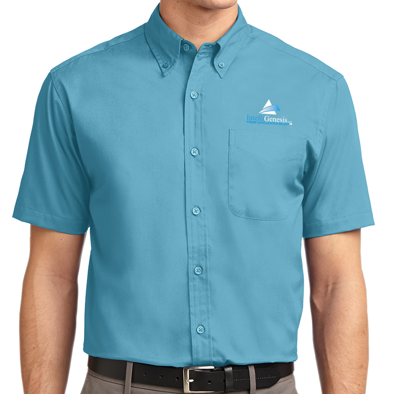 IntelliGenesis Port Authority Short Sleeve Easy Care Shirt - Maui Blue
