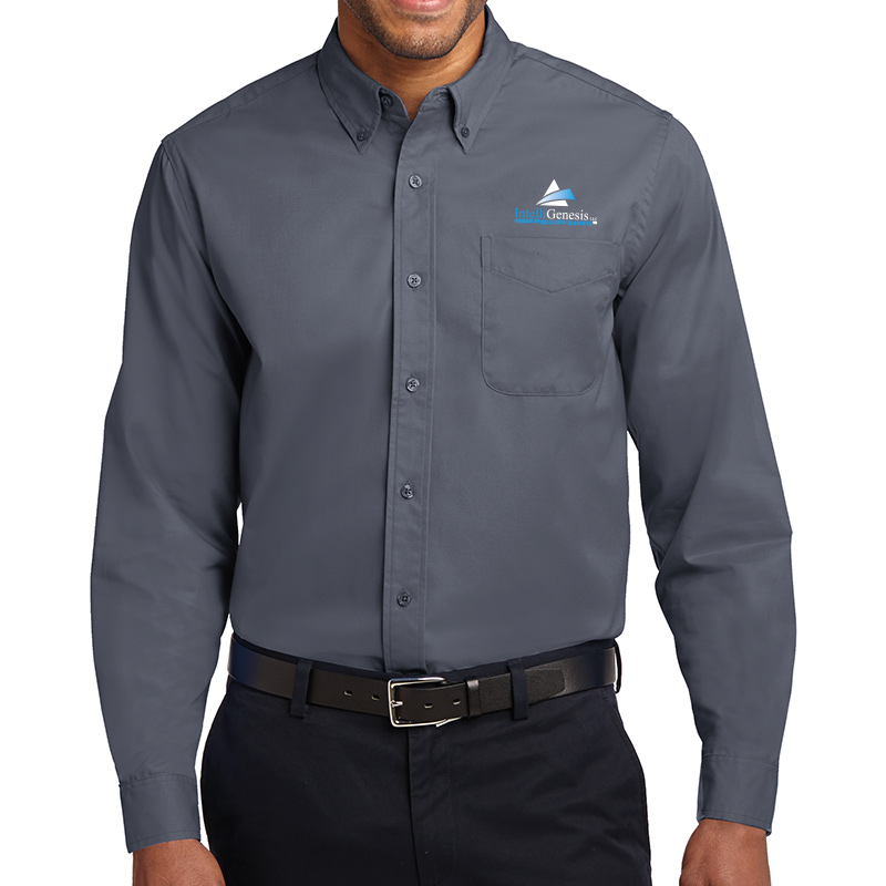 IntelliGenesis Port Authority Long Sleeve Easy Care Shirt - Steel