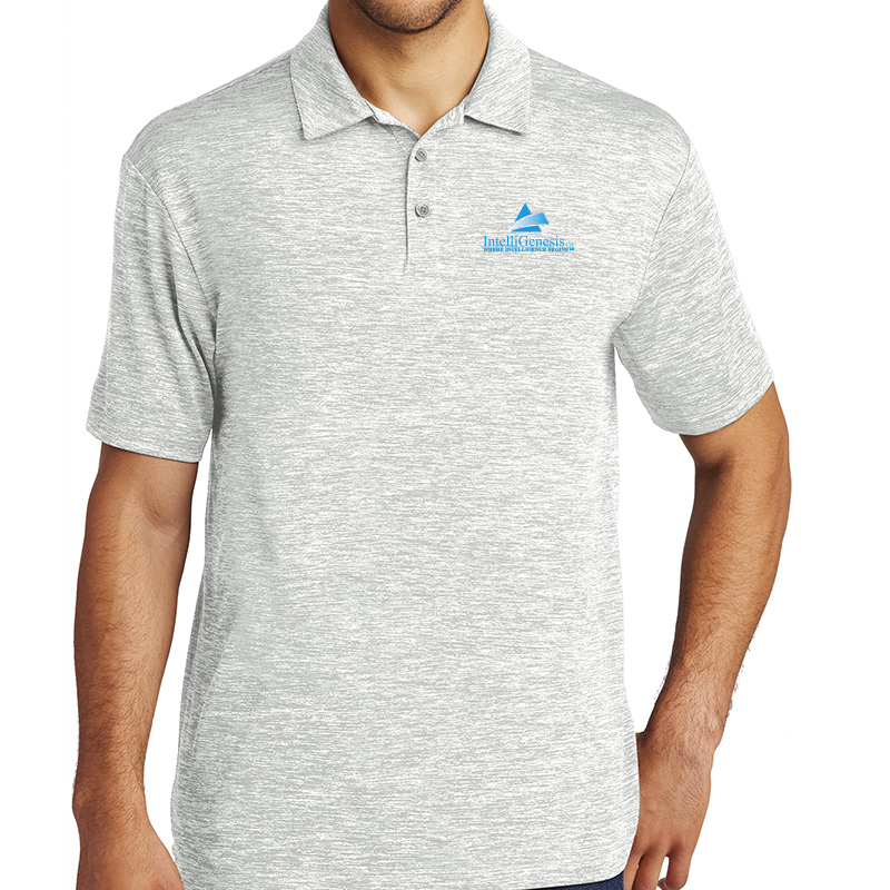 IntelliGenesis Sport Tek Posi Charge Electric Heather Polo - Silver Electric