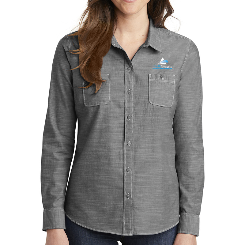 IntelliGenesis District Made Ladies Long Sleeve Washed Woven Shirt