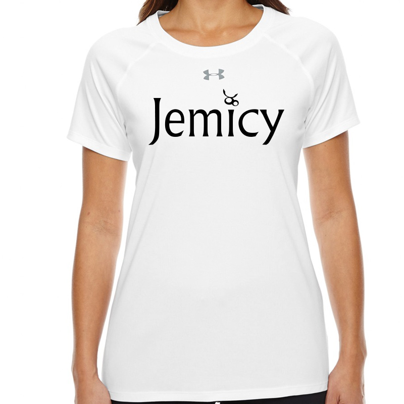 Jemicy Text  Under Armour Ladies' Locker T-Shirt -  White