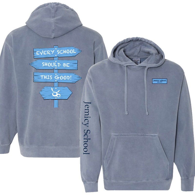 Jemicy Comfort Colors Dyed Hooded Pullover Sweatshirt -  Blue Jean