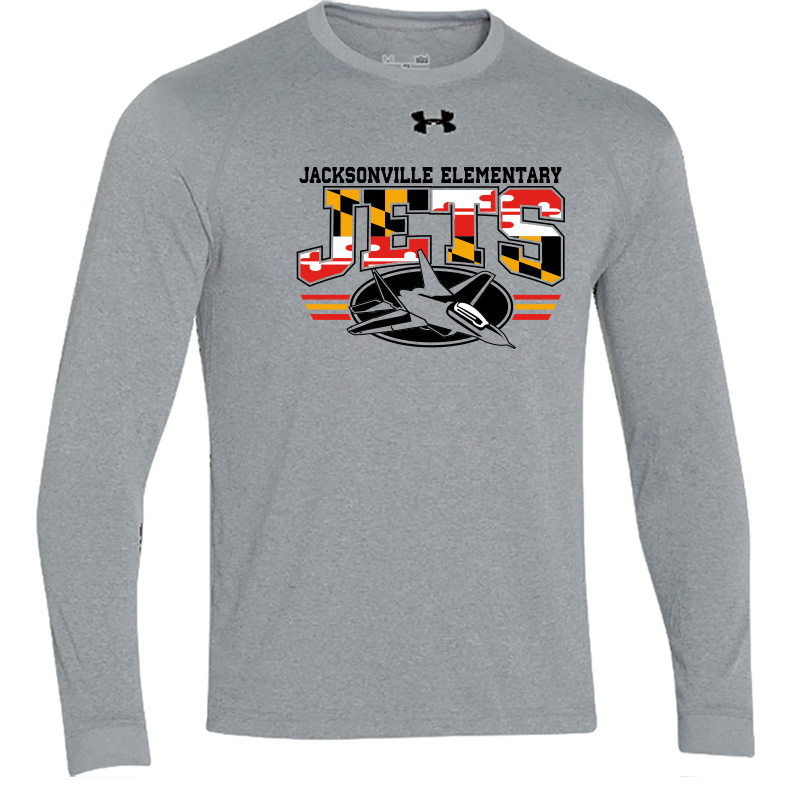 JES MD Flag Logo  UA Long Sleeve  Locker Tee  - True Grey