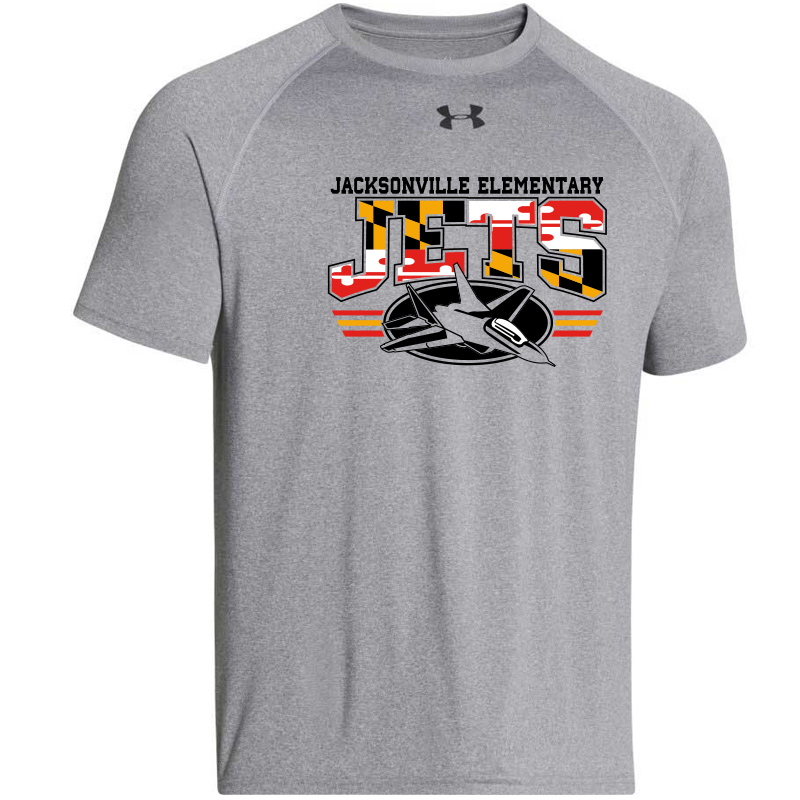 JES MD Flag Logo  UA Locker Tee  - True Grey