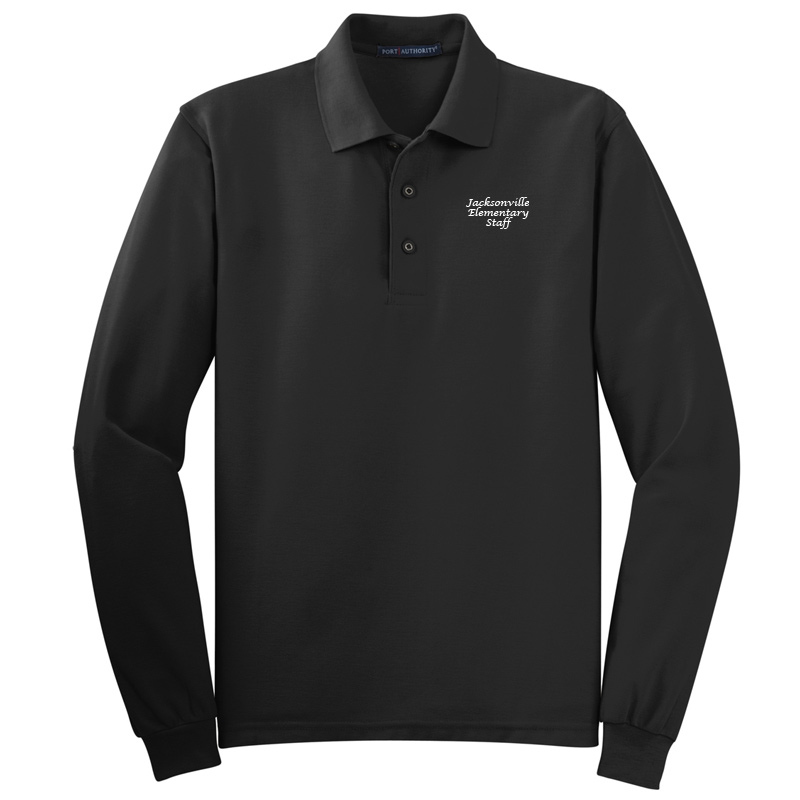 JES  Silk Touch™ Long Sleeve Polo Polo - Black