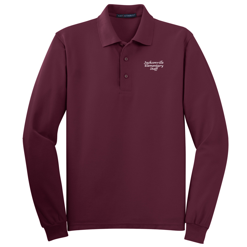JES  Silk Touch™ Long Sleeve Polo Polo - Burgundy
