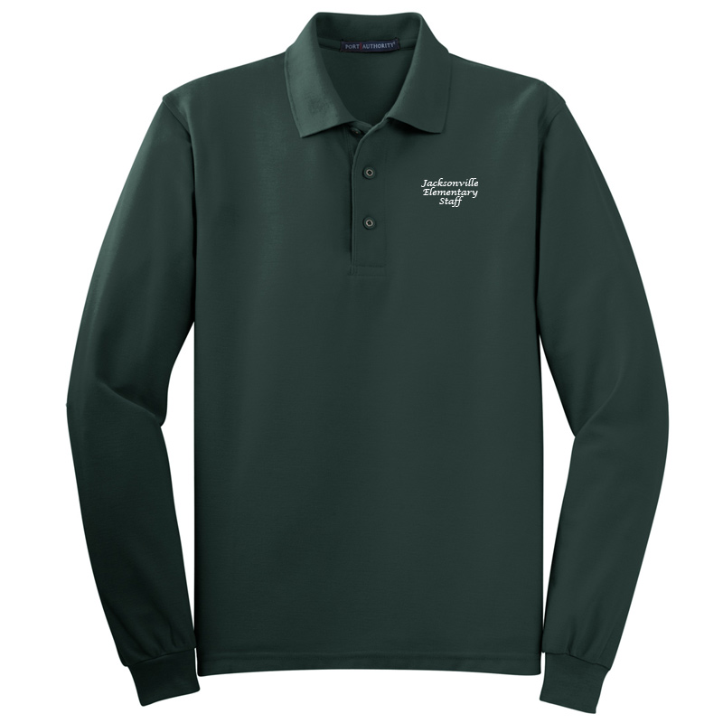 JES  Silk Touch™ Long Sleeve Polo Polo - Dark Green