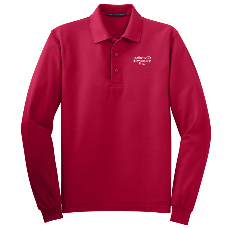 JES  Silk Touch™ Long Sleeve Polo Polo - Red