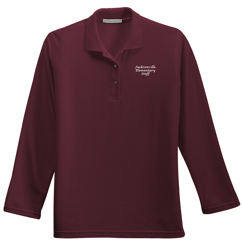 JES  Ladies Silk Touch™ Long Sleeve Polo Polo - Burgundy