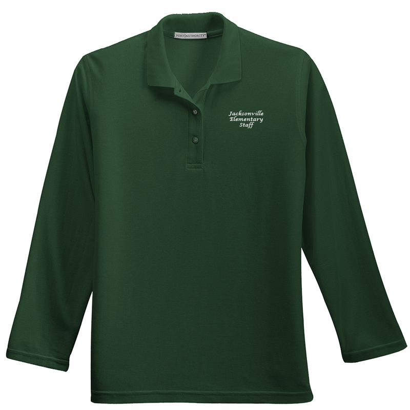 JES  Ladies Silk Touch™ Long Sleeve Polo Polo - Dark Green