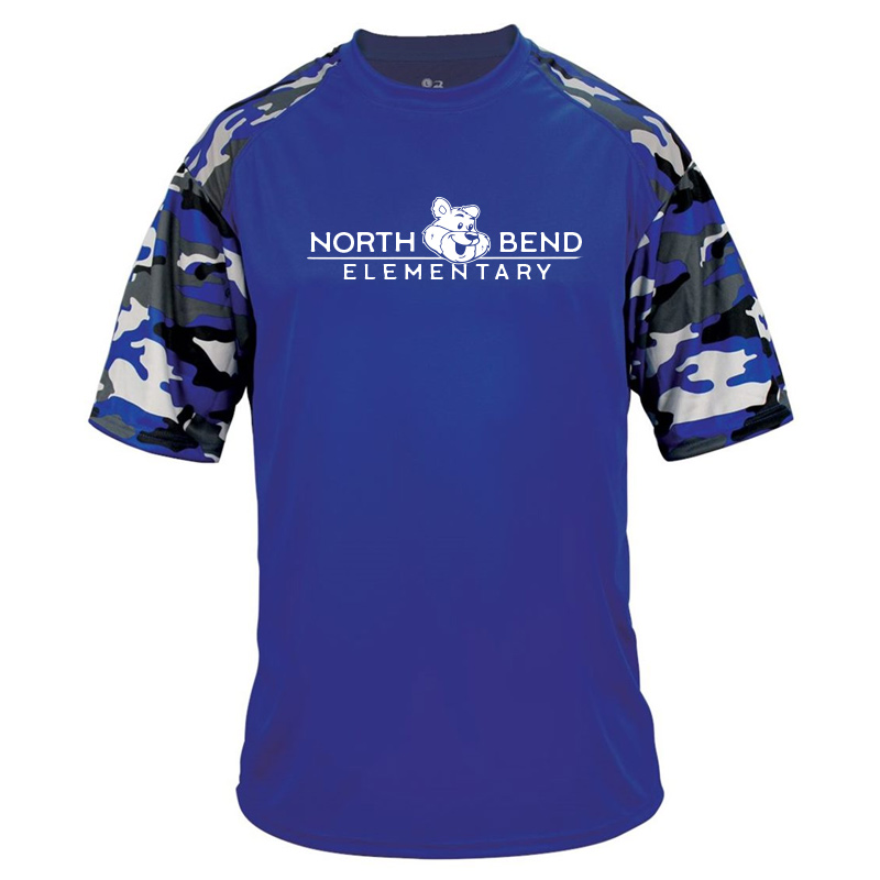 North Bend Elementary Camo Youth Sport Tshirt - royal