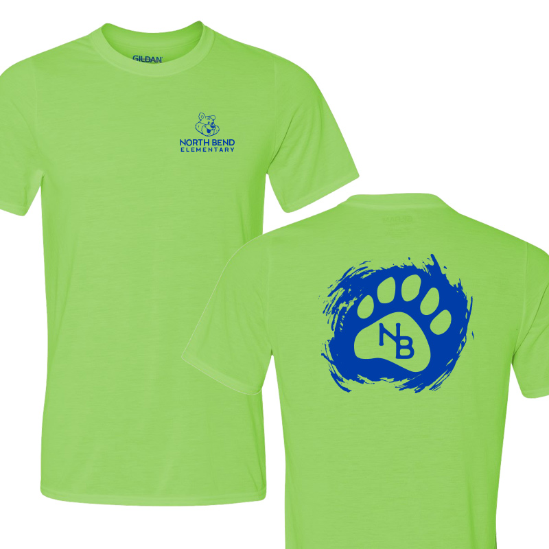 North Bend Paw  Performance Adult T-Shirt (Youth and Adult)  - lime
