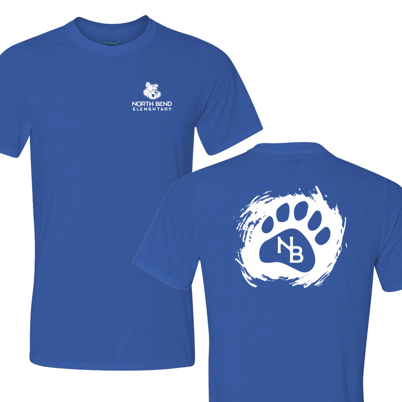North Bend Paw  Performance Adult T-Shirt (Youth and Adult)  - royal