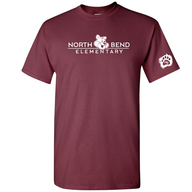 North Bend Elementary Cotton Adult T-Shirt (Youth and Adult)  - maroon