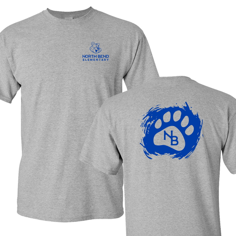 North Bend Paw  Cotton Adult T-Shirt (Youth and Adult)  - sportgrey