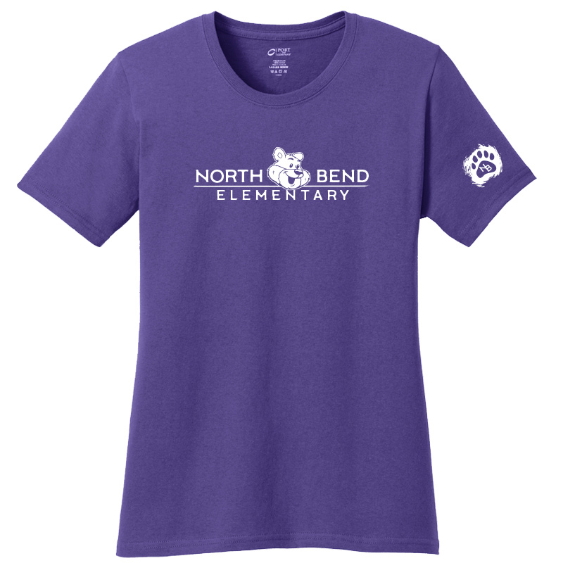 North Bend Elementary Ladies Core Cotton Tee - purple