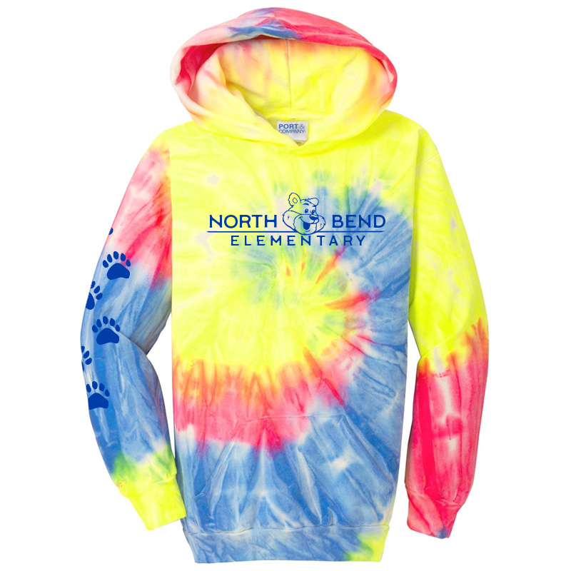 North Bend Elementary Tie-Dye Pullover Hooded Sweatshirt  (Youth and Adult)  - royal