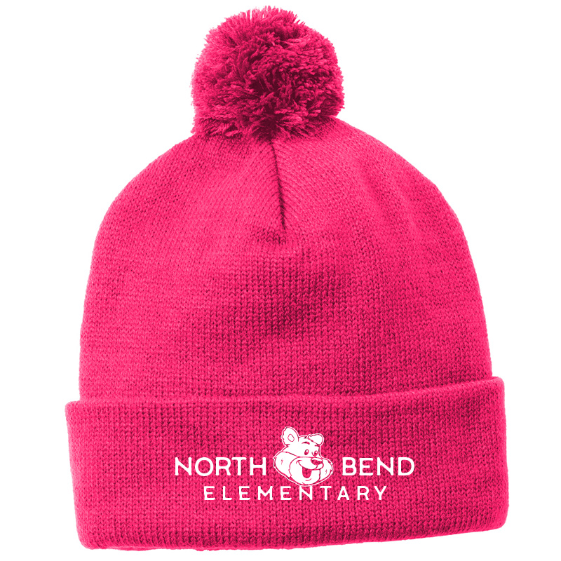 North Bend Hats  Sport-Tek ® Solid Pom Pom Beanie - Pink